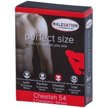 Malesation Kondome Perfect Size Cheetah 54 mm Breite 3er