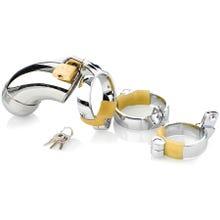 Cockstar Keuschheitskäfig geschlossen mit 3 Ringen 40, 45, 50 mm silber