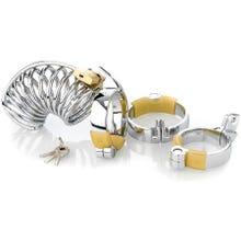 Cockstar Keuschheitskäfig - Gitter - mit 3 Ringen 40, 45, 50 mm silber