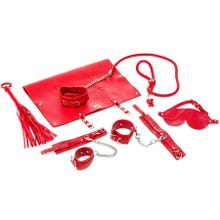 Zenn 9 Piece Real Leather Bondage Set red - Luxus Leder Fesselset | SUPERSALE