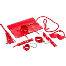 Zenn 9 Piece PU Leather Bondage Set red | SUPERSALE
