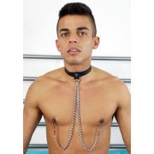 HardcoreDeLuxe - Halsfessel mit Nippelklemmen schwarz