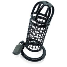 HardcoreDeLuxe Chastity Cage - Mesh - Stainless Steel 4,5 cm black
