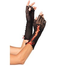 Leg Avenue Fishnet Fingerless Gloves black/red Gr.S-L