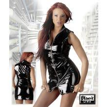 Lack-Minikleid mit Zip schwarz