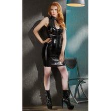 Lack-Kleid schwarz mit Schnürung und Zip