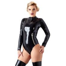 Damen Latex-Body mit Kragen schwarz