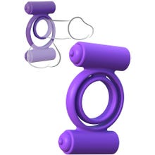 Fantasy C-Ringz - Vibrating Silicone Double Delight Cockring purple