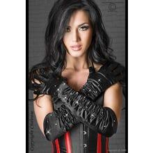 Chilirose Handschuhe schwarz mit Strass Gr.S-L