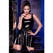 Chilirose Minikleid Latexlook schwarz