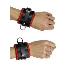 Premium - Handfesseln aus weichem Leder schwarz/rot