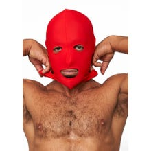 HardcoreDeLuxe LYCRA Maske Hood Eyes and Mouth Open red Gr.S-L