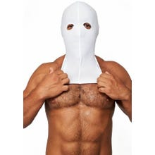 HardcoreDeLuxe LYCRA Maske Hood Eyes Open Only white Gr.S-L | SUPERSALE