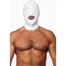 HardcoreDeLuxe LYCRA Maske Hood Mouth Open Only white Gr.S-L