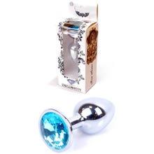 7 x 2,7 cm Boss Series Butt Plug mit Light Blue Crystal silver
