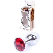 7 x 2,7 cm Boss Series Butt Plug mit Red Crystal silver
