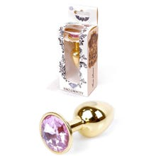 7 x 2,7 cm Boss Series Butt Plug mit Rose Crystal gold