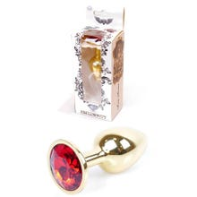 7 x 2,7 cm Boss Series Butt Plug mit Red Crystal - gold