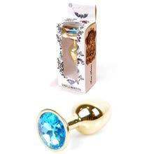 7 x 2,7 cm Boss Series Butt Plug mit Light Blue Crystal - gold