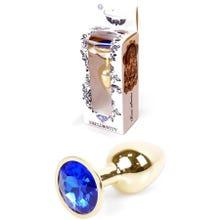 7 x 2,7 cm Boss Series Butt Plug mit Dark Blue Crystal - gold