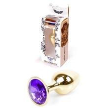 7 x 2,7 cm Boss Series Butt Plug mit Purple Crystal - gold
