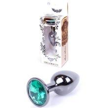 7 x 2,7 cm Boss Series Butt Plug mit Green Crystal - dark silver