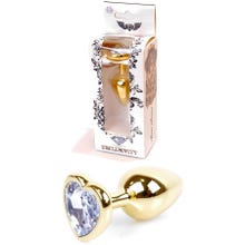 7 x 2,7 cm Boss Series Butt Plug mit Clear Heart Crystal - gold