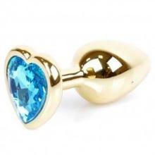 7 x 2,7 cm Boss Series Butt Plug mit Light Blue Heart Crystal - gold