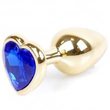 7 x 2,7 cm Boss Series Butt Plug mit Dark Blue Heart Crystal - gold