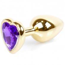 7 x 2,7 cm Boss Series Butt Plug mit Purple Heart Crystal - gold