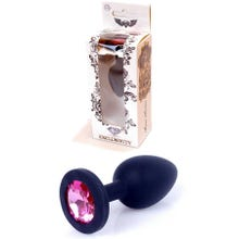 8 x 3,5 cm Boss Series Silicone Butt Plug mit Blue Crystal - black