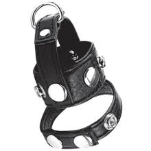 Cockstar Cockring with 1inch Ball Stretcher and Weightring black