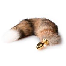 7 x 2,8 cm Buttplug gold - mit 40 cm Fuchsschwanz