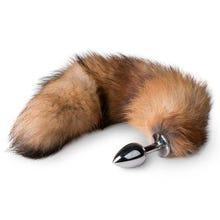 7 x 3,4 cm Buttplug silber - mit 35 cm Fuchsschwanz