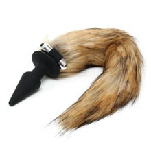 9 x 3,5 cm Rimba Silicone Butt Plug with Fox Tail brown