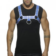 ADDICTED AD524 Fetish Harness Tank Top black/blue Gr. L | SUPERSALE