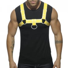 ADDICTED AD524 Fetish Harness Tank Top black/yellow