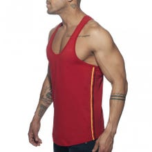 ADDICTED AD777 Flags Tape Tank Top red