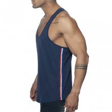 ADDICTED AD777 Flags Tape Tank Top navy | SUPERSALE