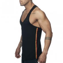 ADDICTED AD777 Flags Tape Tank Top black