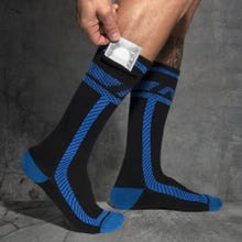 ADDICTED ADF109 Pockets Fetish Long Socks black/royal blue
