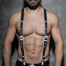 ADDICTED ADF40 Leather Suspenders black/white Unisize