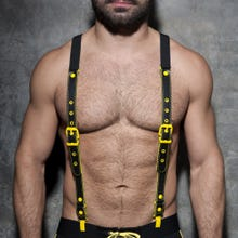 ADDICTED ADF40 Leather Suspenders black/yellow Unisize