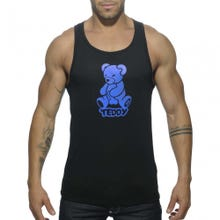 ADDICTED ADF55 Teddy Tank Top black / blue Gr. S | SUPERSALE