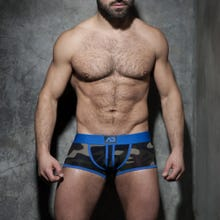 ADDICTED ADF63 Camo Stripe Fetish Boxer bottomless camo/blue