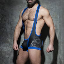 ADDICTED ADF74 Camo Mesh Open Singlet black/royal blue