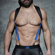 ADDICTED ADF87 Rubber Suspenders black/royal blue Unisize