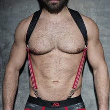 ADDICTED ADF87 Rubber Suspenders black/red Unisize