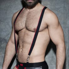 ADDICTED ADF89 Zipper Suspenders black/red