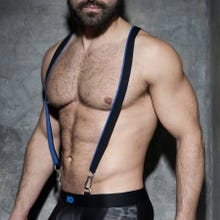 ADDICTED ADF89 Zipper Suspenders black/royal blue